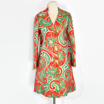 VINTAGE 1960's Oscar De La Renta Boutique Coat / Red and Green Metallic Paisly Evening Coat