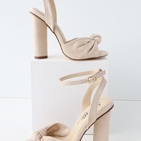 Nessa Nude Suede Ankle Strap Heels