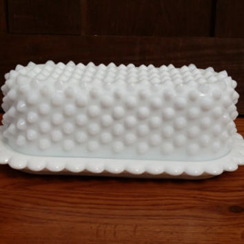 Vintage White Milk Glass Fenton Hobnail Butter Dish With Lid Great Retro Style for Your Table