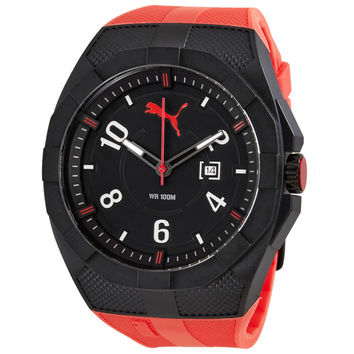 Puma Iconic Red Black Dial Red Rubber Sports Mens Watch