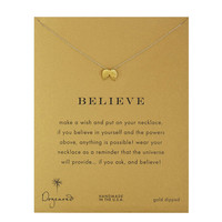 Dogeared Believe Wings Necklace, Gold Dipped 16 inch