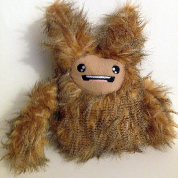 Cute Monster Plush,  Anime Inspired Creature,   Kawaii Plushie, Stuffed Toy Monster, Furry Stuffed Animal, Cute Monster, Brown Fur, Adorable