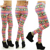 Beaming Cherokee Neon Pink Tribal Print Leggings
