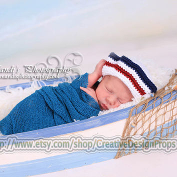 Crochet Newborn Baby Sailor Hat 0-1, 2-3 and 3-6 mo -- White Red Blue Sailor Beanie, Newborn Photo Prop or perfect gift for Baby Shower