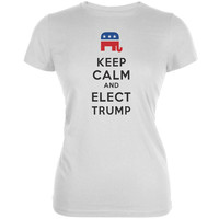 Election 2016 Keep Calm and Elect Trump White Juniors Soft T-Shirt