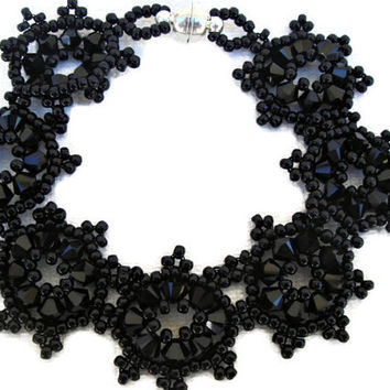 Black Beaded bracelet with Swarovski elements. Handmade seed beads jewelry. Seed beads jewelry.