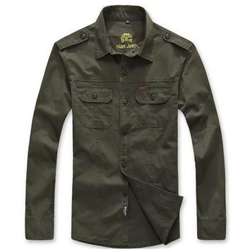 Hiking Shirt camping Man NIAN JEEP Military  Men Long Sleeve Multi-Pocket Army Sports Quick Dry Loose Breathable Cotton Shirts Plus Size KO_17_1