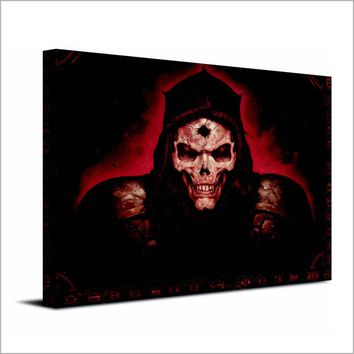 Diablo 2 dark horror skull game canvas wall art print Framed UNframed
