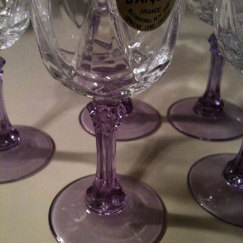 Crystal Cordial Glass Set Luscious Lavendar Stems by Cristal D'Arques of France 6 3oz