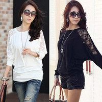 2016 Spring Autumn Women's Lace Cutout  Women Shirts Long-sleeved Plus Size Casual Loose Blouse Shirts J4179