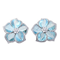 Aquamarine Diamond Flower Earrings by Ambrosi
