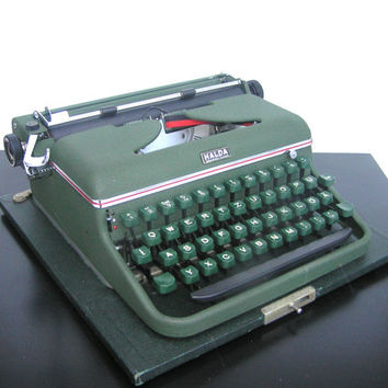 Typewriter Halda splendid working condition Germany 1956 office decor portable home decor writing love letter industrial dark green olive