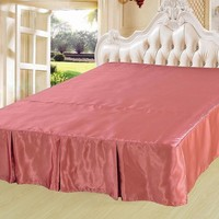 """DaDa Bedding Dusty Rose Wood Shiny Solid Pink Dust Ruffle Pleated Bed Skirt - Cal King - 14"""" Drop (BS-BM4576)"""