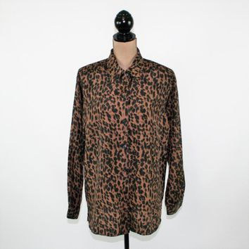 Long Sleeve Silk Blouse Animal Print Button Up Tunic Shirt Long Top Oversized Blouse Loose Fitting Silk Top Silk Shirt Medium Women Clothing