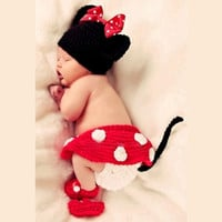 Cute Newborn Baby Mouse Photography Props Infant Animal Knitting Crochet Costume baby Soft Adorable Clothes Suit (Fit 0-3Months) (Size: 0-3m, Color: Red) = 1841867140