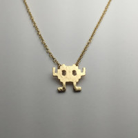 Space Invader Necklace Gold minimalist jewelry Video Game accessory Gaming Gamer gift Atari Arcade Fan item Monster 8-bit Cute Dainty Gift