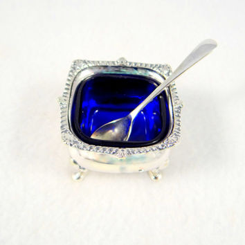 Silver Plate and Cobalt Glass Salt Cellar with Spoon from the 1920s