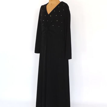PLUS SIZE Large Vintage 1960s 1970s Diva Gown Black Diamond 60s Maxi Dress Mod Hostess Dress Motown Disco Diva Prom Dress Halloween Costume