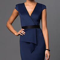 Cap Sleeve V-Neck Dress with Asymmetrical Skirt