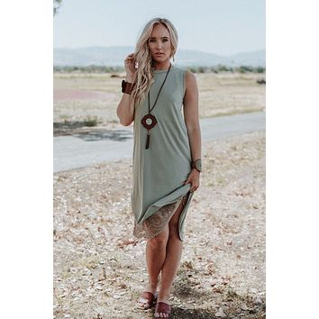 At Last Best Basic Hi Low Dress - Sage