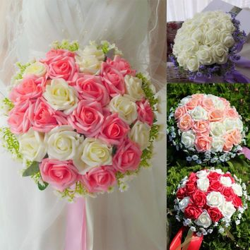 Artificial 24 Pieces Rose Flower Bridal Bouquet buque noiva branco Pink White Bridesmaid Wedding Bouquet de mariage Bruidsboeket