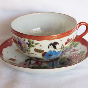 Japanese Geisha Porcelain Teacup and Saucer Signed