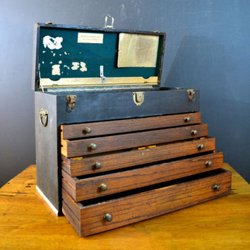 Vintage Machinist Toolbox, Black and Wood Machinist Tool Chest, 5 Drawer Tool Box