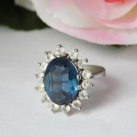 Vintage 1980s Sapphire and Clear Paste Cluster Statement Ring - Kate Middleton Ring - Princess Diana Ring