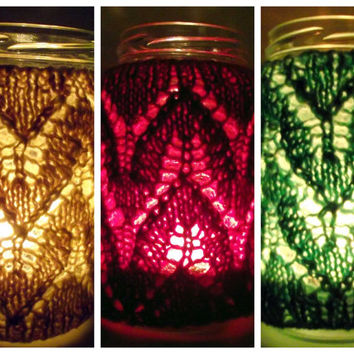Lacy T-light Cosy, Jar Nighlight Cosy, Tealight Cosy, Votive Candle Cosy,  Lantern Cover Cosy  THREE COLOUR CHOICES 15% Discount for Three