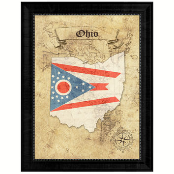 Ohio State Vintage Map Gifts Home Decor Wall Art Office Decoration