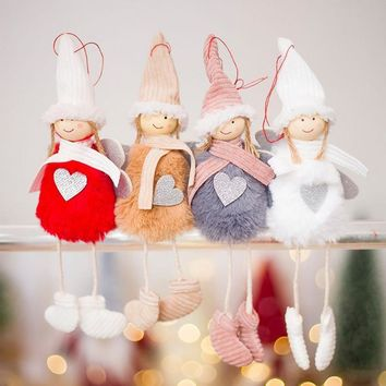 New Cute Angel Plush Doll Christmas Decoration Pendant Creative Christmas Tree Ornaments Xmas Christmas Party Decor for Home