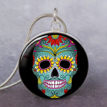 Day of the Dead art pendant charm, Skull resin pendant, Skull  jewelry, Mexican skull jewelry, Day of the Dead Jewelry