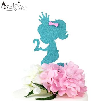 Little Mermaid Birthday Party Cake Topper Glitter Age Cake Topper Mermaid Birthday Party Decorations Girl Party Decor Supplies