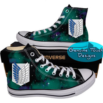 Custom Converse, Attack on titan, Galaxy shoes, Anime shoes, Custom chucks, painted shoes, personalized converse hi tops
