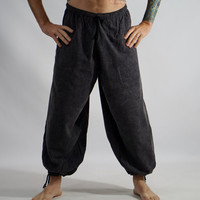 BAGGY PANTS STONE Black- Renaissance Festival Costume, Pirate Pants, Steampunk, Medieval Clothing, Larp Costume, Viking, Yoga, -  Zootzu