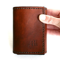 Tri-Fold Mens Wallet. Personalized Mens leather wallet with Old English initial