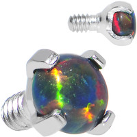 14 Gauge 3mm Faux Black Prong Set Opal Titanium Dermal Top