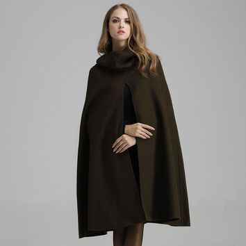 Top Quality Women Cashmere Coat Long Woolen Winter Cape Coat Female Solid Army Green Black Hooded Cloak Loose Plus Size Jacket