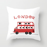 London - Bus Double Decker Throw Pillow Promoters