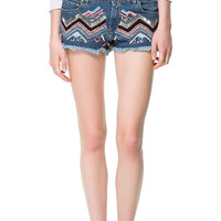 EMBROIDERED DENIM SHORTS - Shorts - Woman - ZARA United States