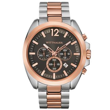 Wittnauer WN3023 Men's Lucas Gunmetal Dial Two Tone Rose Gold Steel Chronograph Watch