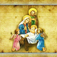 Christmas card set, Holy Family, religious, christian, set of 12 blank inside with envelopes, blue, gold, brown