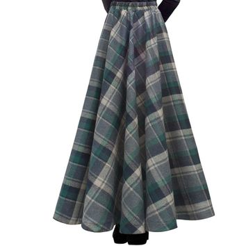 Free Shipping 2017 New Fashion Long Maxi Thick A-line Skirts For Women Elastic Waist Winter Plaid Wollen Skirts Warm With Pocket