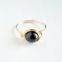 Brass Black Onyx Ring