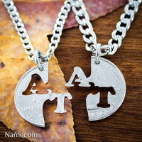Initial Necklace Set, Personalized Couples Jewelry, Hand Cut Coin