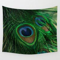 Peacock Wall Tapestry by Olivia Joy StClaire