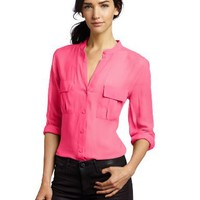 BCBGMAXAZRIA Women's Anderson Button-Front Silk Blouse