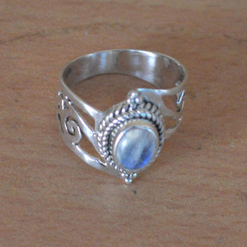 Blue moonstone ring, sterling silver, moonstone Gypsy ring, stacking ring,rainbow moonstone ring,Hand Made Jewelry,Girlfriend Gift Boho Ring