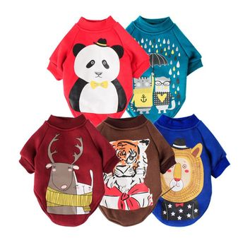Cartoon Printed Pet Costume Autumn and Winter Dog Clothes Brand Small Dog Coat