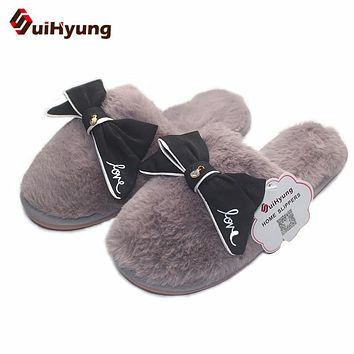 Suihyung Fashion Design Women's Home Slippers With Big Bowknot Plush Warm House Slippers Indoor Shoes Female Bedroom Floor Shoes